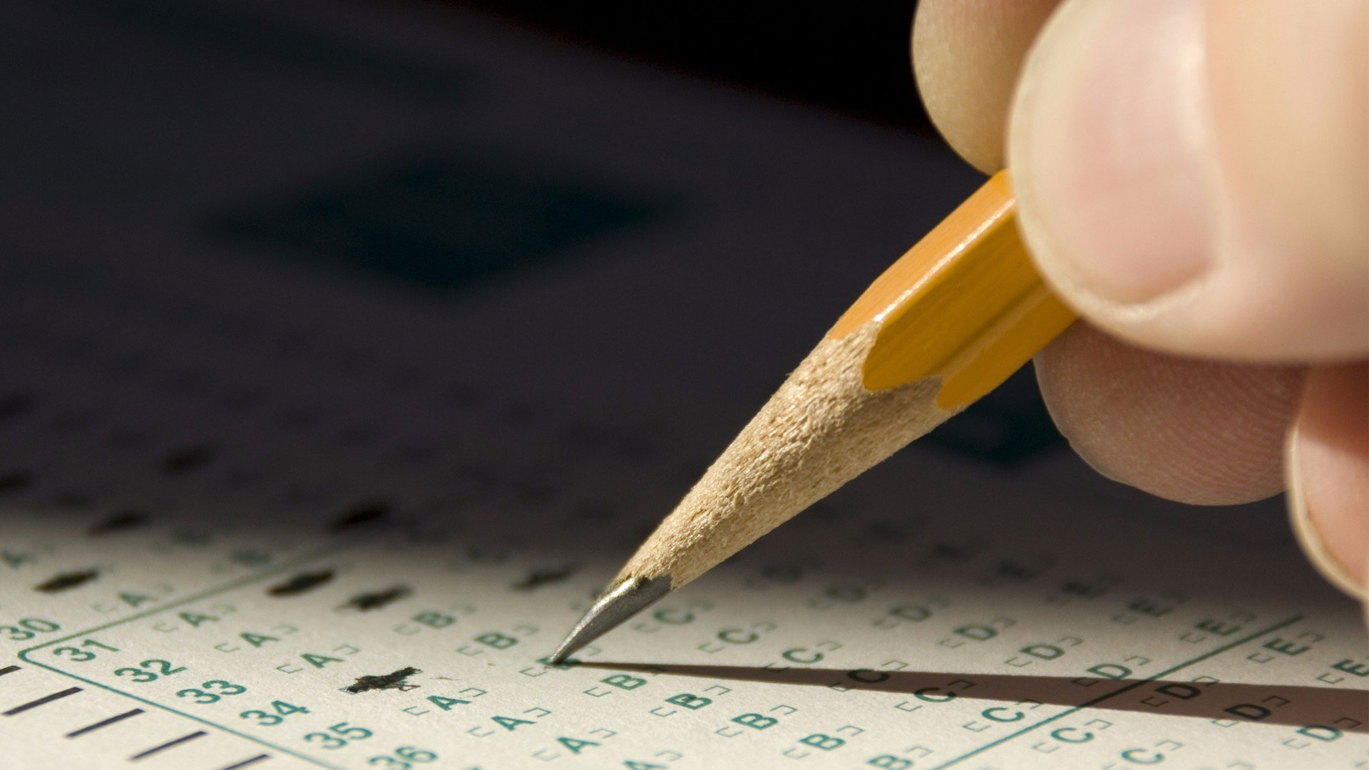 taking a test with a pencil